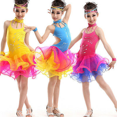 TOP Mädchen Tanzkleid Lateinkleid Salsa Turnierkleid Chiffon Tangokleid (Tango Ballett Kostüm)