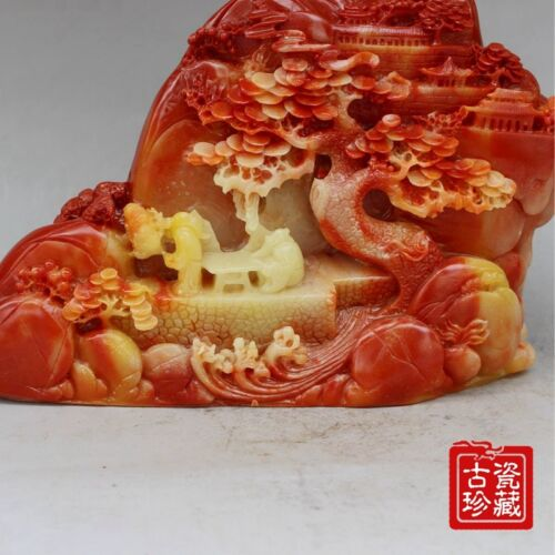 """6.0/""""Collect Old Chinese Hand-Carved Natural ShouShan Stone scenery figure Statue"""