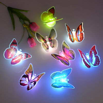 LED Light up Butterflies Night Light Butterfly Decoration Fiber Optic Lamp 8 PC