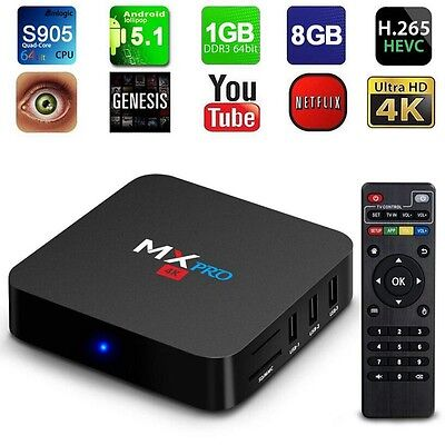 MXQ MX PRO UHD 4K Android 5.1 WiFi S905 Quad Core HD 1080P 1GB 8GB Smart TV Box