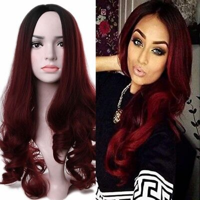 Best Ombre Wine Red Synthetic Wigs Burgundy Long Wavy Synthetic Hair Full (Best Red Ombre Hair)