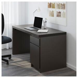 computer desk dark black-brown