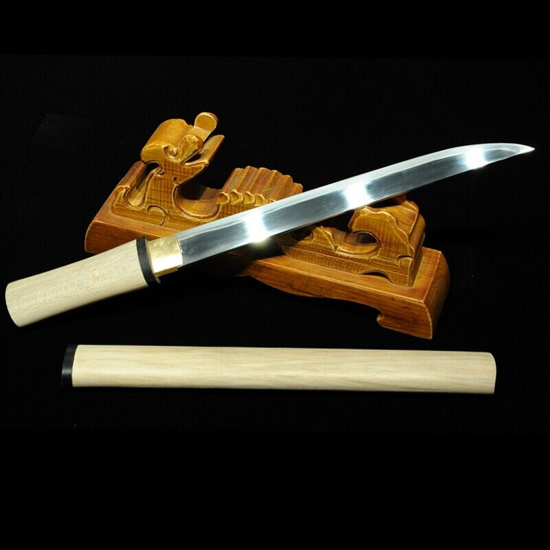 Full Tang Tanto Short Sword T10 Steel w Clay Tempered Sharp Combat Ready #3179
