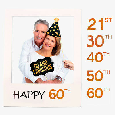 30th 40th 50th Happy Birthday Party Paper Frame Anniversary Photo Booth Props Sp ()