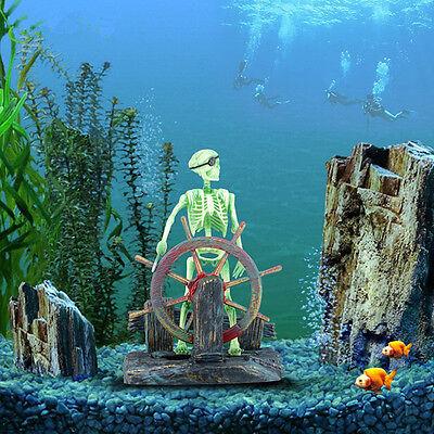 Action-Aquarium Ornament Skeleton Pirate Captain Fish Tank Landscape Decoration