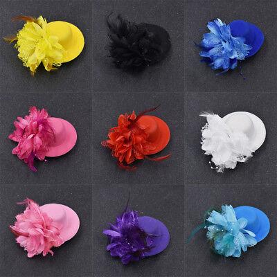 Mini Top Hat (1pc Lolita Women Floral Mini Top Hat Feather Fascinator Headwear Hair Clip)