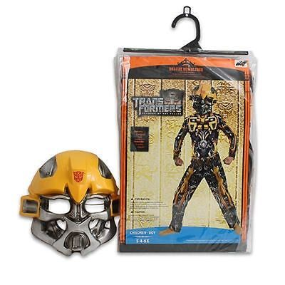 Costume Transformers Bumblebee Muscle Chest Jumpsuit + Mask Boy S 4-6X NEW - Costume Transformers