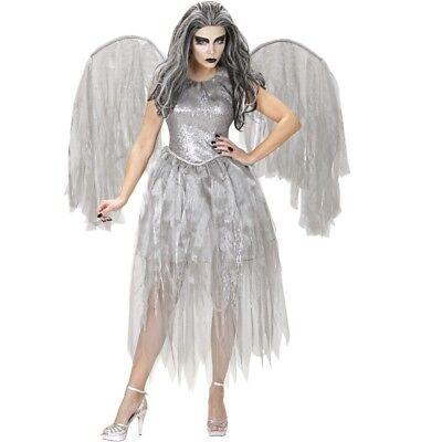 GEFALLENER DUNKLER ENGEL Damen Kostüm exklusives KLEID MIT FLÜGEL - Halloween