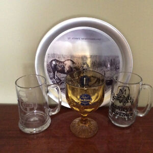 Vintage Beer Glasses and Tray