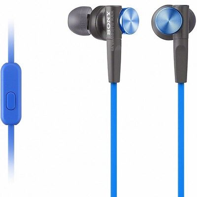 Sony MDR-XB50AP EXTRA BASS EARBUD HEADSET MDRXB50AP BLUE WIRED covid 19 (Blue Earbud Headset coronavirus)