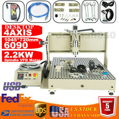 Usb 4 Axis 2.2kw 6090 Cnc Router Engraver Engraving Milling Carving Machine Rc
