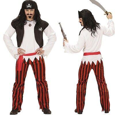 4 in 1 Pirat Piratenkostüm Shirt mit Weste, Hose, Gürtel, Kopftuch Herren - Herren Piraten Kostüm Hose