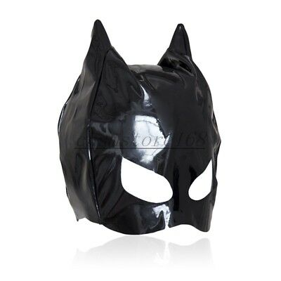 Dungeon Wheel Party Club PVC Wet Look Cat Ear Half Head Hood Mask - Cat Head Mask