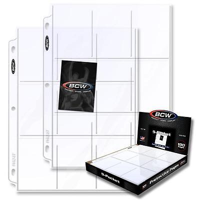 10 BCW 9 Pocket Card Album Pages Holders Sheets Baseball Football -