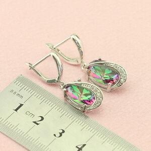 Mystic Topaz Gemstone 925 Silver Earrings + Gift Box