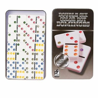 Classic 28-Piece Double Six Dominoes Game Set in Tin Collector Storage Case