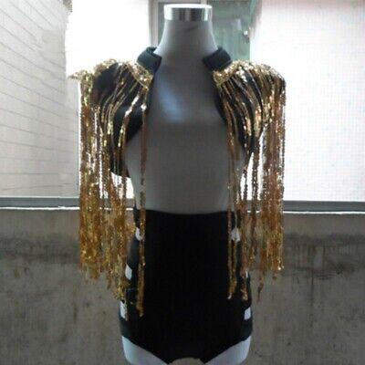 Lady Sequins Waistcoat Cropped Shrug Jacket Dance Show Jazz Tassel Glitter - Jazz Dance Show Kostüm
