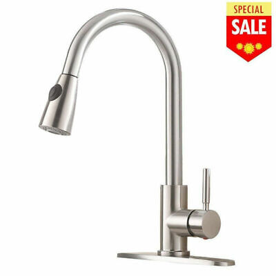 Stainless Steel Single Handle Pull Down Sprayer Spring Kitchen Sink Faucet Mixer