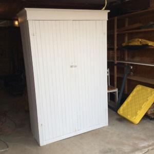 Clean Primitve Antique White Wardrobe / Storage Cabinet