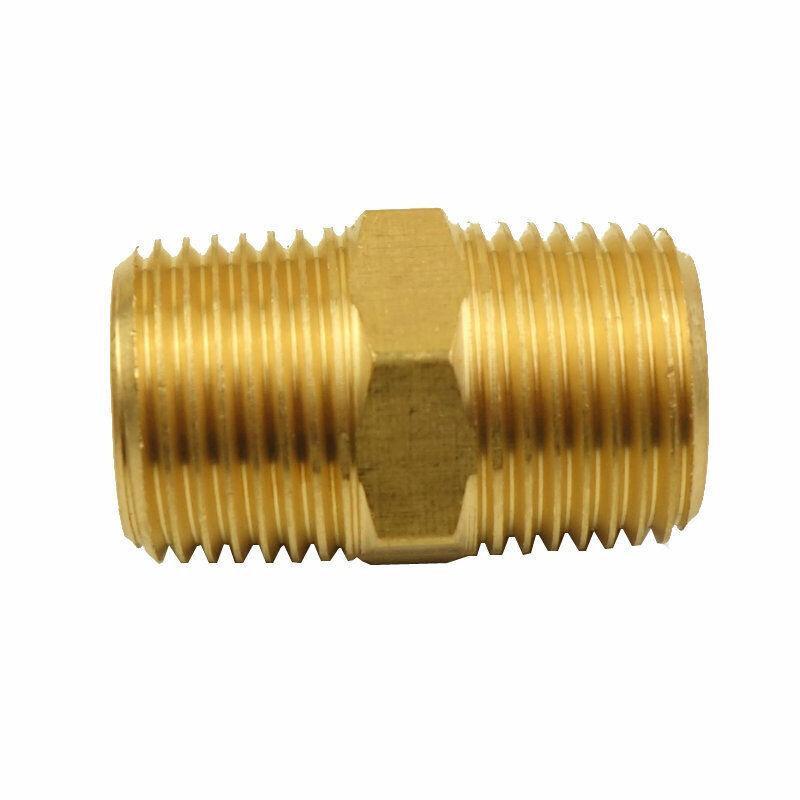 "9pcs Brass Pipe Fitting Adapter Hex Nipple 1/4"" NPT X 1/4"" BSPT Air Gas Water"