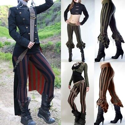Women Steampunk Victoriana Sage Striped Ruffle Capris Pants Game Cosplay -