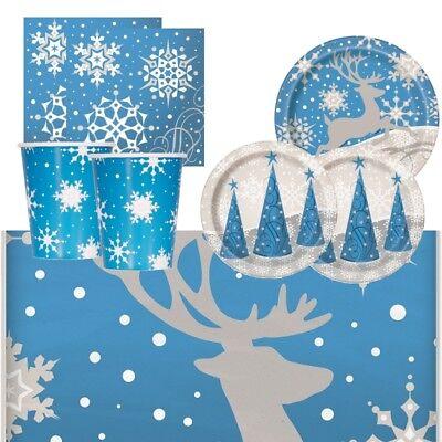 Reindeer & Snowflake Christmas Party Supplies Tableware, Balloon, - Christmas Party Supplies