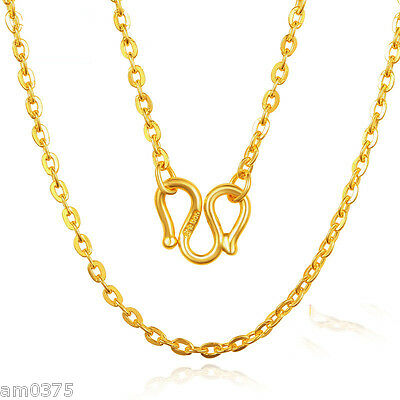 """Fashion Authentic 999 24K Yellow Gold Necklace Charming O Link Lucky Chain16.5""""L"""