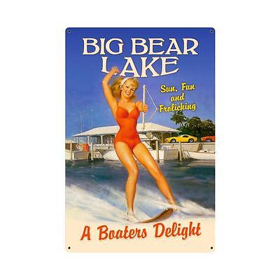 Vintage Style Retro Frolicking Big Bear Lake Steel Sign 12 x18