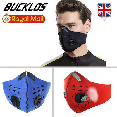 UK Mouth Face Mask PM2.5 Activated Carbon Filter Air Valve Reusable Anti Fog
