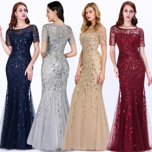 Ever-pretty US Plus Size Mermaid Formal Party Dress Sequins Celebrity Prom Gowns