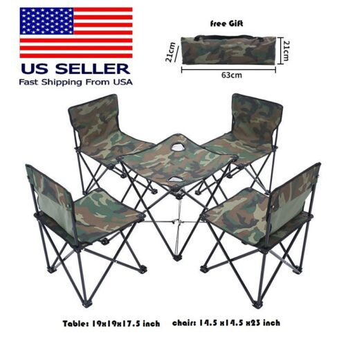 Folding Portable Camping Table & Chairs 5pc Set Outdoor Picnic With Carry Bag