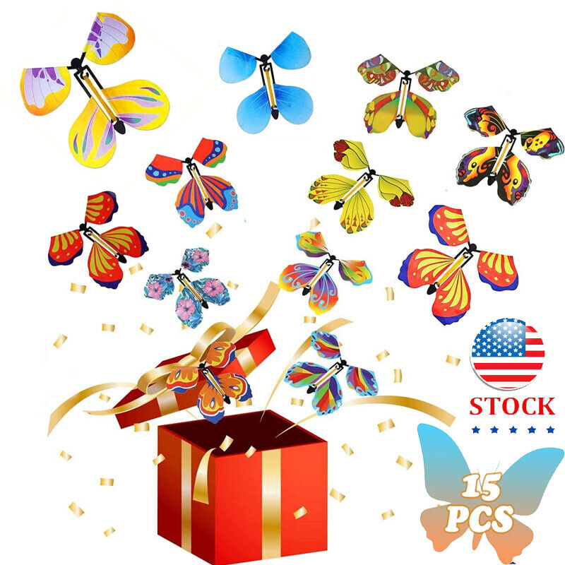 15 Pieces Magic Fairy Flying Butterfly Rubber Band Powered Wind up Butterfly Toy