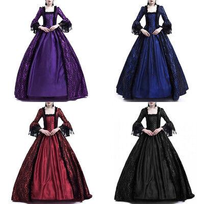 Women Dress Medieval Large Bell Sleeve Costume Victorian Cosplay Halloween (Bell Sleeve Womens Kostüm)