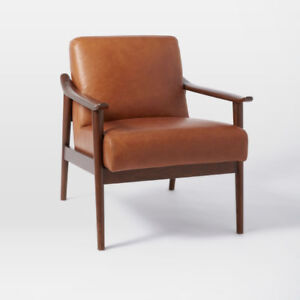 Brand new west elm Mid-Century Leather Show Wood Chair