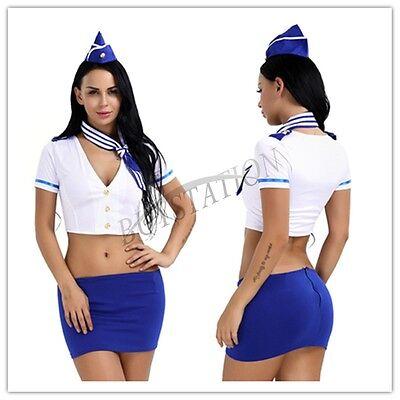 Sexy Stewardess Uniform Lingerie Flight Attendant Air Hostess Halloween Costume](Flight Attendant Halloween)