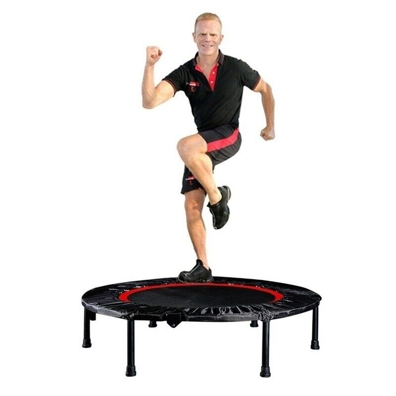 "Mini Trampoline 40"" Fitness Rebounder w/ Adjustable Bar Indoor Workout Training"