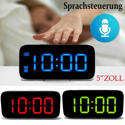 Großes Display LED Digital Wecker Tischuhr USB Uhr Nachtlicht Beleuchtet Snooze Großes Display