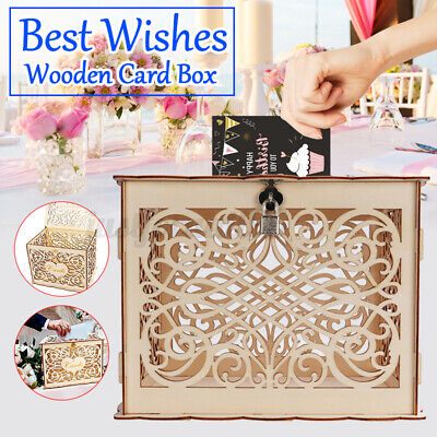 Wooden Wedding Card Post Box Engagement Birthday Party Decorations with Lock