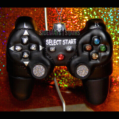 VIDEO GAME CONTROLLER ORNAMENT Christmas xmas blown glass glitter playstation