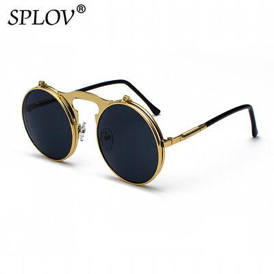 Best New Flip Up Lens Steampunk Vintage Retro Style Round Sunglasses Gold 2018