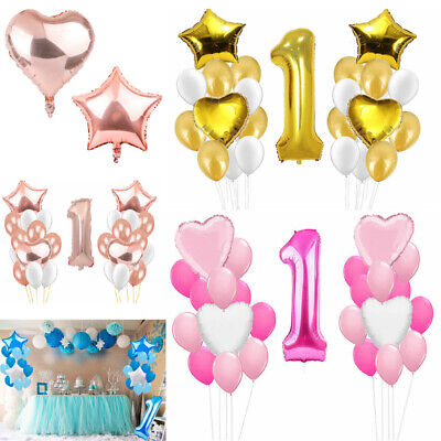 First 1st Geburtstag Folie Latex Ballon Dekorationen Junge Mädch Birthday Banner