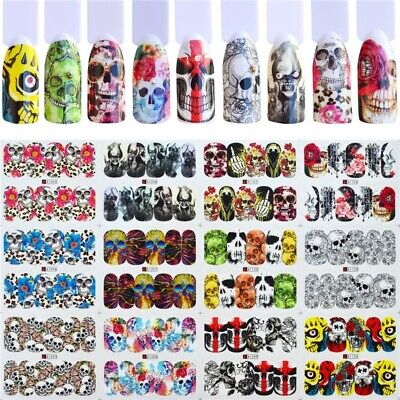 12 Patterns Halloween Xmas Nail Art Transfer Stickers Decals Tips DIY Decoration