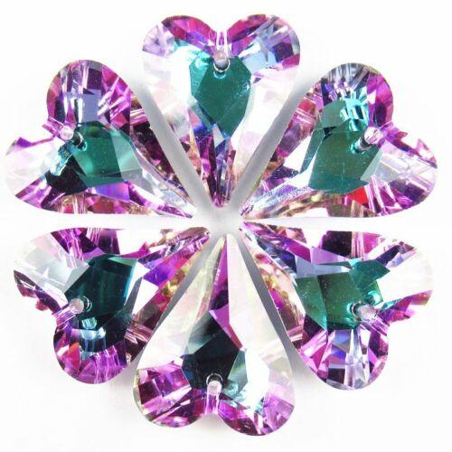 10Pcs 20g Carved Peach Blue Titanium Crystal Butterfly Pendant Bead 395SJ
