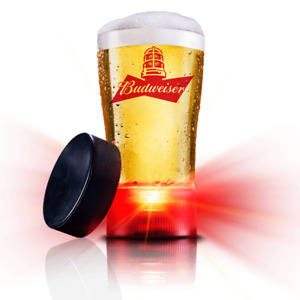 BUDWEISER RED LIGHT GOAL SYNCHED GLASSES - SET OF TWO