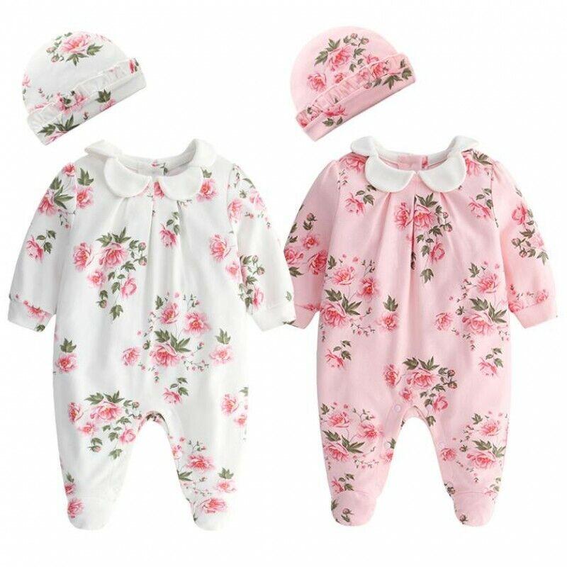 Baby clothes infant girls princess bodysuit floral cotton jumpsuit & hat set