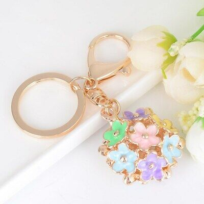 Women's Flower Ball Five Petals Bag Keychain Gold Plated Key Ring Key Chain Gift Flower Petal Gift Bags
