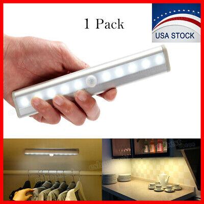 10 LED Motion Sensor Closet Light Wireless Night Cabinet Lamp Battery Powered