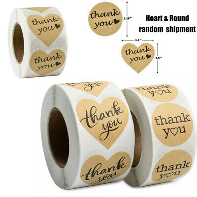 Thank You Sticker (Heart & Round Thank you Stickers 1000 Kraft Paper DIY Gift Cake Envelope)