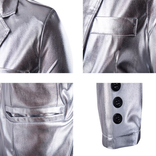 Men/'s Long Sleeve Sequin Costume Blazer Suit Theater  Shiny Tops And Pants 2Pcs