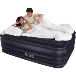 Electric self-inflating bed-height queen air mattress